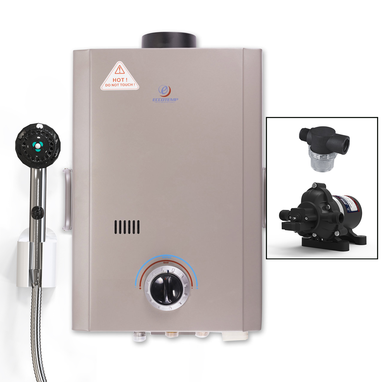 Eccotemp L7 Portable Outdoor Tankless Water Heater with EccoFlo Pump and Strainer