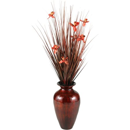 D&W Silks Brown Ting with Red Blossoms in Red/Gold Spun Bamboo Vase