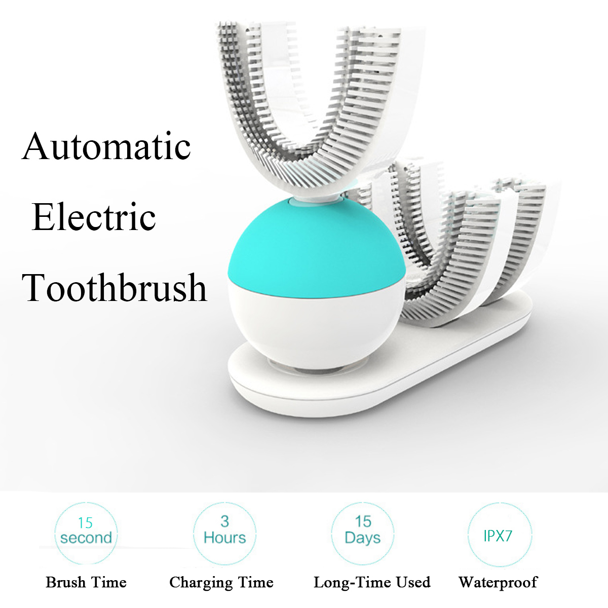Lazy People Automatic Electric Toothbrush with Automatic Double Head Teeth Brush Dental Care Wireless Charging