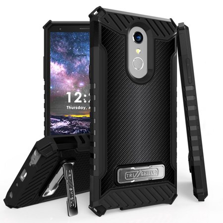 Beyond Cell Rugged Military Grade Drop Tested [MIL-STD 810G-516.6] Kickstand Cover Case and Atom Cloth for LG Stylo 4+ Plus/LG Stylo 4 (2018) - Dark -