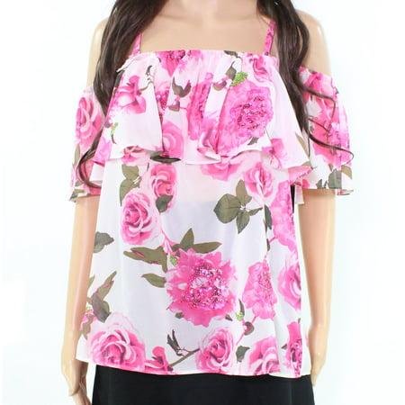INC NEW Pink Sequin Mia Roses Women's Size Medium M Chiffon Blouse