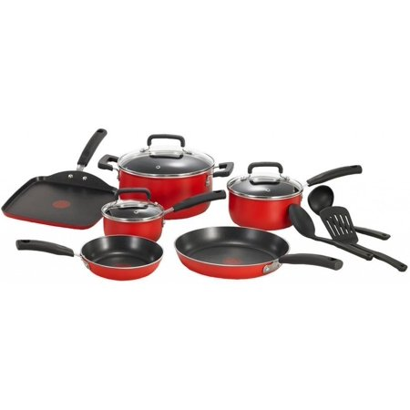 T-Fal Signature Total Non-Stick 12-Piece Cookware Set Aluminum in Red