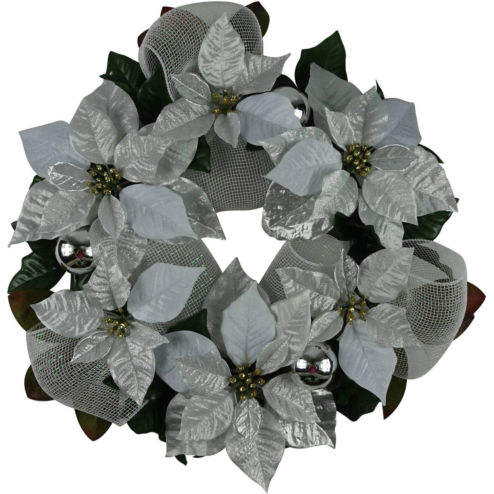"Holiday Time Christmas Decor 18"" Silver Poinsettia Wreath"