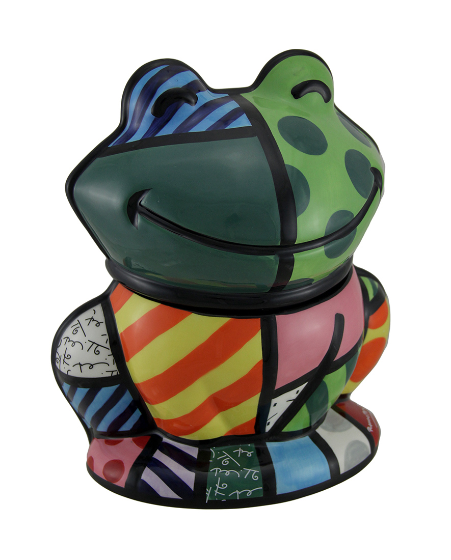 Brightly Colored Ceramic Frog Cookie Jar by B G SALES INC.