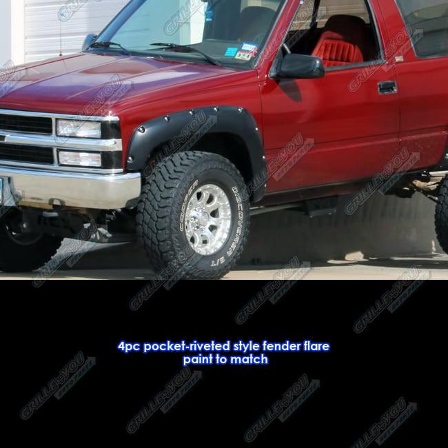 MGPRO Textured Matte Black Paintable Factory Style Wheel Fender Flare Protector Set For 1988-1998 Chevy GMC C//K 1500 2500 3500 Pickup 1992-1999 Tahoe Blazer Yukon