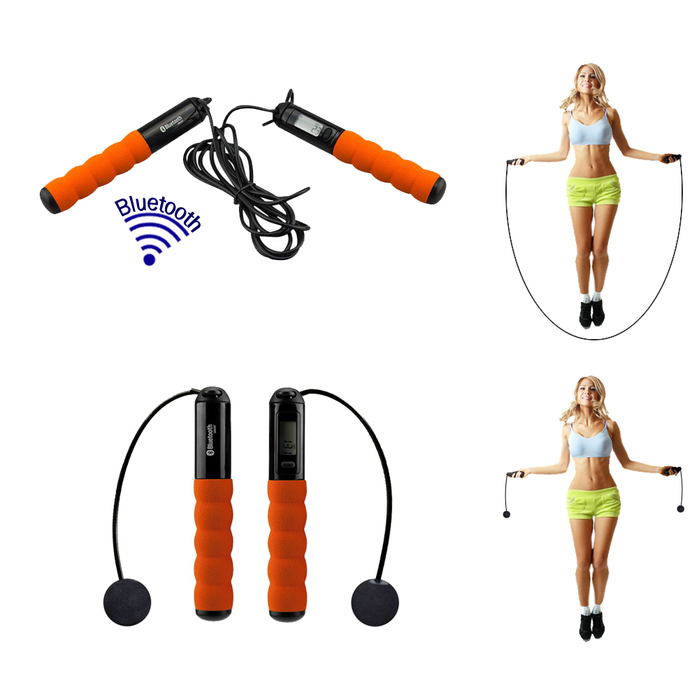 Acuvar Bluetooth with LCD Digital Jump Rope (Black and Orange) with 6 Exercise modes and 2 Tetherballs for Indoor and Outdoor use with IOS and Android Connectivity