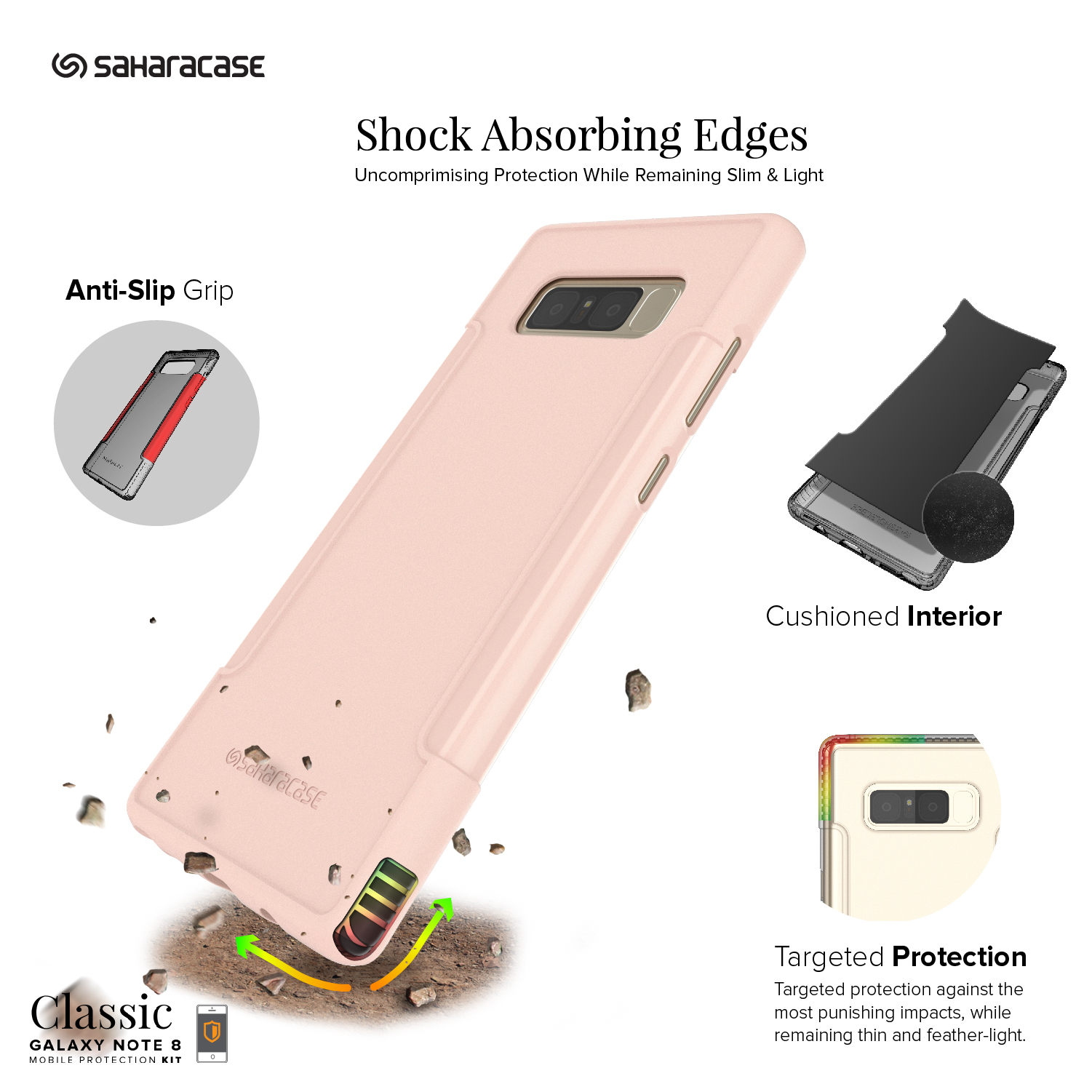 Saharacase Oc-S-N8-Rog Classic Case For Samsung Galaxy Note 8, Rose Gold