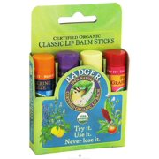 Badger - Certified Organic Classic Lip Balm Variety Pack - 4 x 0.15 oz.