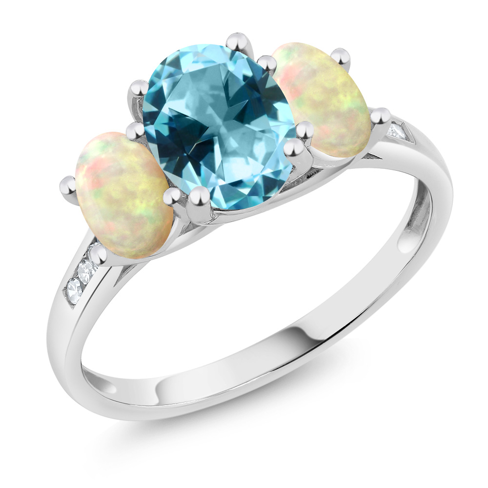 10K White Gold Diamond Ring Ethiopian Opal Set with Blue ...