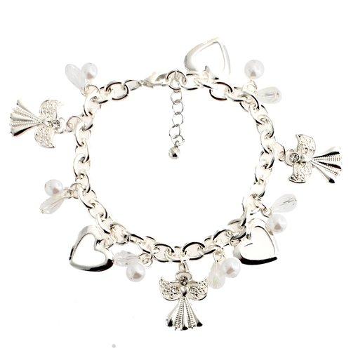 Essentials Silver Tone Angel Charm Bracelet
