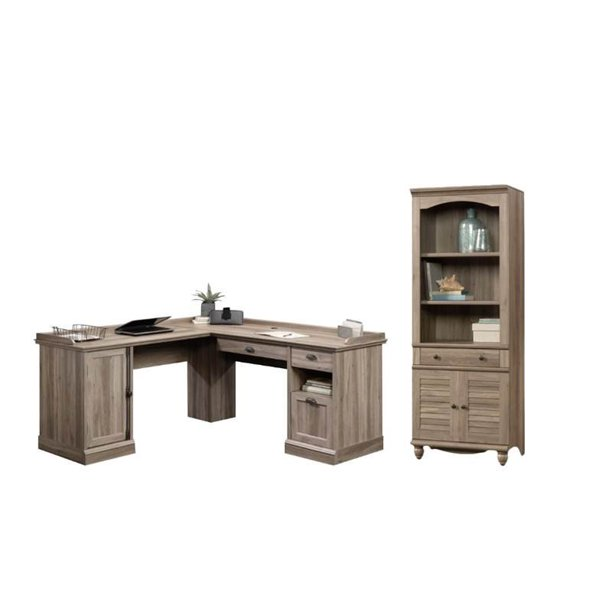 2 Piece Office Set with L Shape Computer Desk and Bookcase in Salt Oak