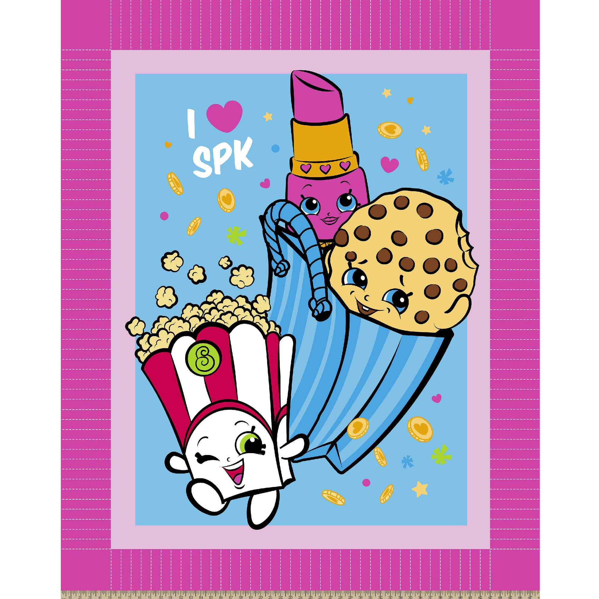 """Craft NSF Licensed Shopkins Party 100 Percent Polyester 75D/144F Micro Fleece Kit, 48"""" Width"""