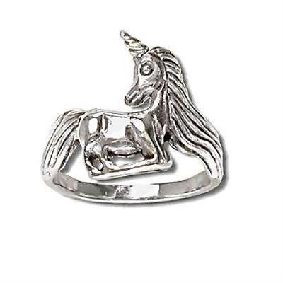 1PK Sterling Silver Unicorn Full Large Ring size 8 - Unicorn Ring