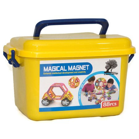 A Mustard Seed Toys Magnetic Tiles, 88 Piece Set](Magnetic Face Toy)