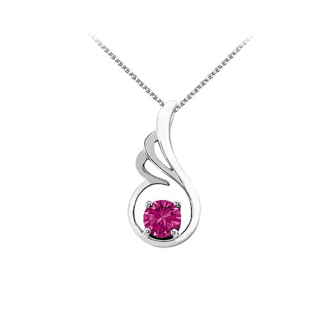 Fine Jewelry Vault UBUPD3066W14PS September Birthstone Pink Sapphire Pendant in 14K White Gold with Free Chain