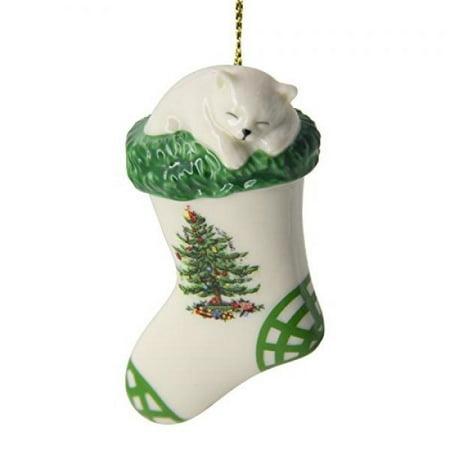 Christmas Kittens Stocking - Spode Christmas Tree Ornament, Kitten in Stocking