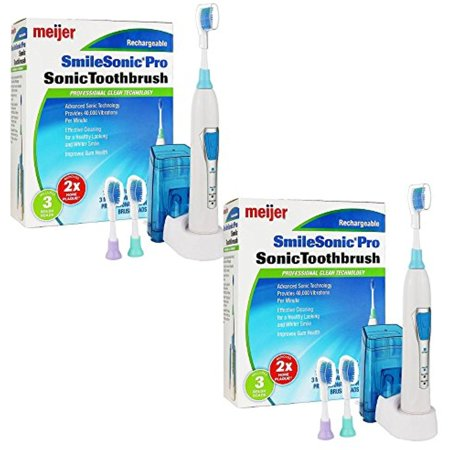 2 Powerful Meijer Sonic Pro Rechargeable Electric Toothbrushes  3 Brushing Modes  2 Minute Timer