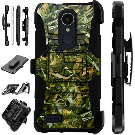 For LG Stylo 3 | LG Stylo 3 Plus Case Armor Hybrid Silicone Cover Stand LuxGuard Holster (Camo Foliage Green) Plus Foliage Green