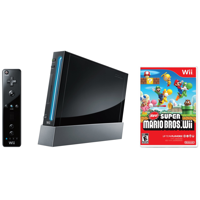 Refurbished Wii Console Black New Super Mario Bros Bundle