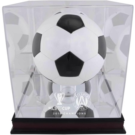 Mls Team Logo Framed (Atlanta United FC 2018 MLS Cup Champions Mahogany Team Logo Soccer Ball Display Case )