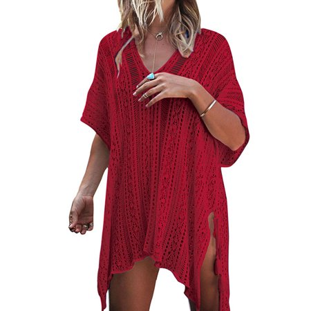02fe008232837 HIMONE - Women Hollow Out Beach Swimsuit Cover ups Tassel V Neck Loose  Knitted Bikini Bathing Suit Summer Swimwear Crochet Dress - Walmart.com