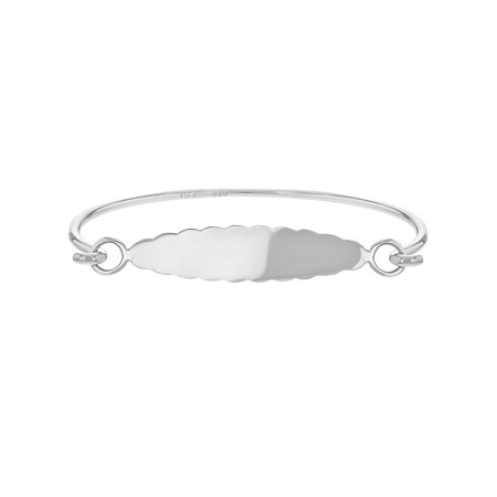 925 Sterling Silver Tag Identification Bangle Bracelet for Toddlers Young Girls