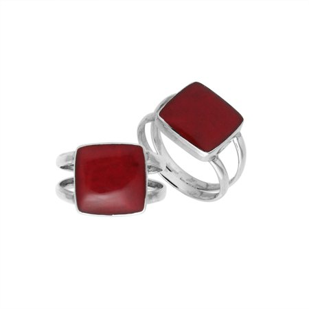 - AR-6222-CR-7'' Sterling Silver Square Shape Ring With Coral