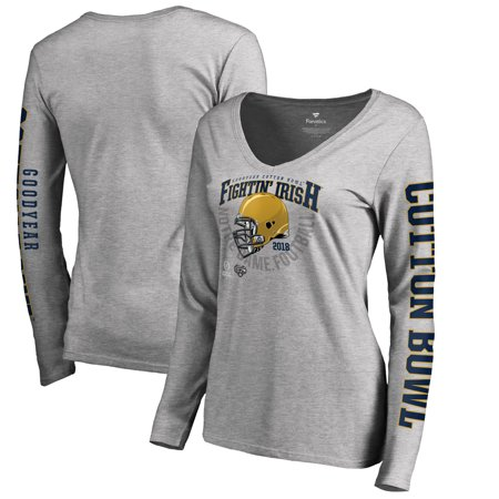 Notre Dame Fighting Irish Fanatics Branded Women's College Football Playoff 2018 Cotton Bowl Bound Cover Long Sleeve T-Shirt - Heather Gray