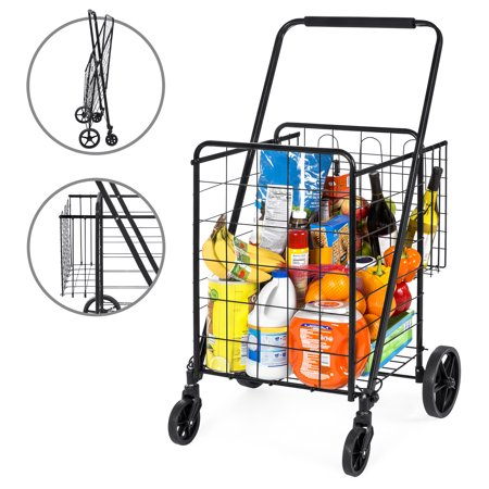 Best Choice Products 24.5x21.5in Portable Folding Multipurpose Steel Storage Utility Cart Dolly for Shopping, Groceries, Laundry with Bonus Basket, Swivel Double Front Wheels, Black ()
