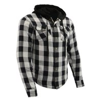 Milwaukee Leather - Men's Armored Checkered Flannel Biker Shirt w/ Aramid by DuPont? Fibers - Black - Size Large