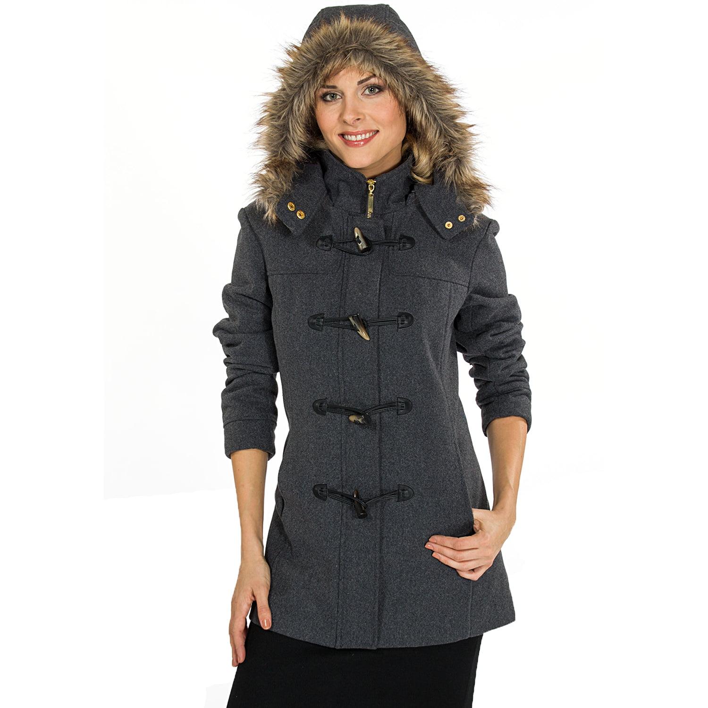 Alpine Swiss Duffy Women's Hooded Parka Fur Trim Wool Coat Toggle
