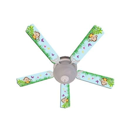 - Blue Cute Monkey Designer 52in Ceiling Fan Blades Set