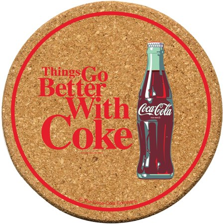 Thirstystone Cork Drink Coasters Set, Coke Go Better by