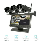 """Defender PhoenixM2 Non Wi-Fi. Plug-in Power. Security Camera System with 7"""" Display Monitor and 3 Long-Range Night Vision Cameras, SD Card Recording, Plug & Play"""