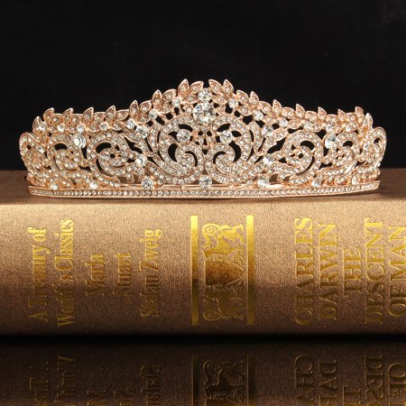 Princess Crown Clipart (LuckyFine Rose Gold Crystal Bridal Princess Queen Crown And Tiara Hairband for Wedding Party)