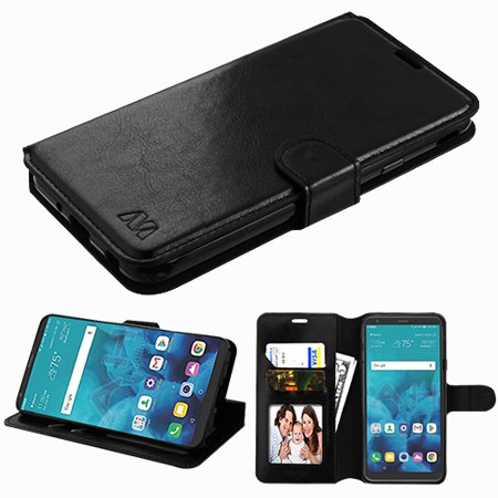Phone Case for LG Stylo 4 - Leather Flip Wallet Case Cover Stand Pouch Credit Card Slots BLACK (Four Slot)