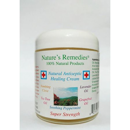 Handmade Natural Antiseptic Healing Cream: Soothing Treatment for Wounds, Burns, Neuropathy, Itchy Skin, Bed Sores, Dry Cracked Feet, Insect Bites, Poison Ivy, Itchy Scalp, Eczema, Psoriasis 4oz