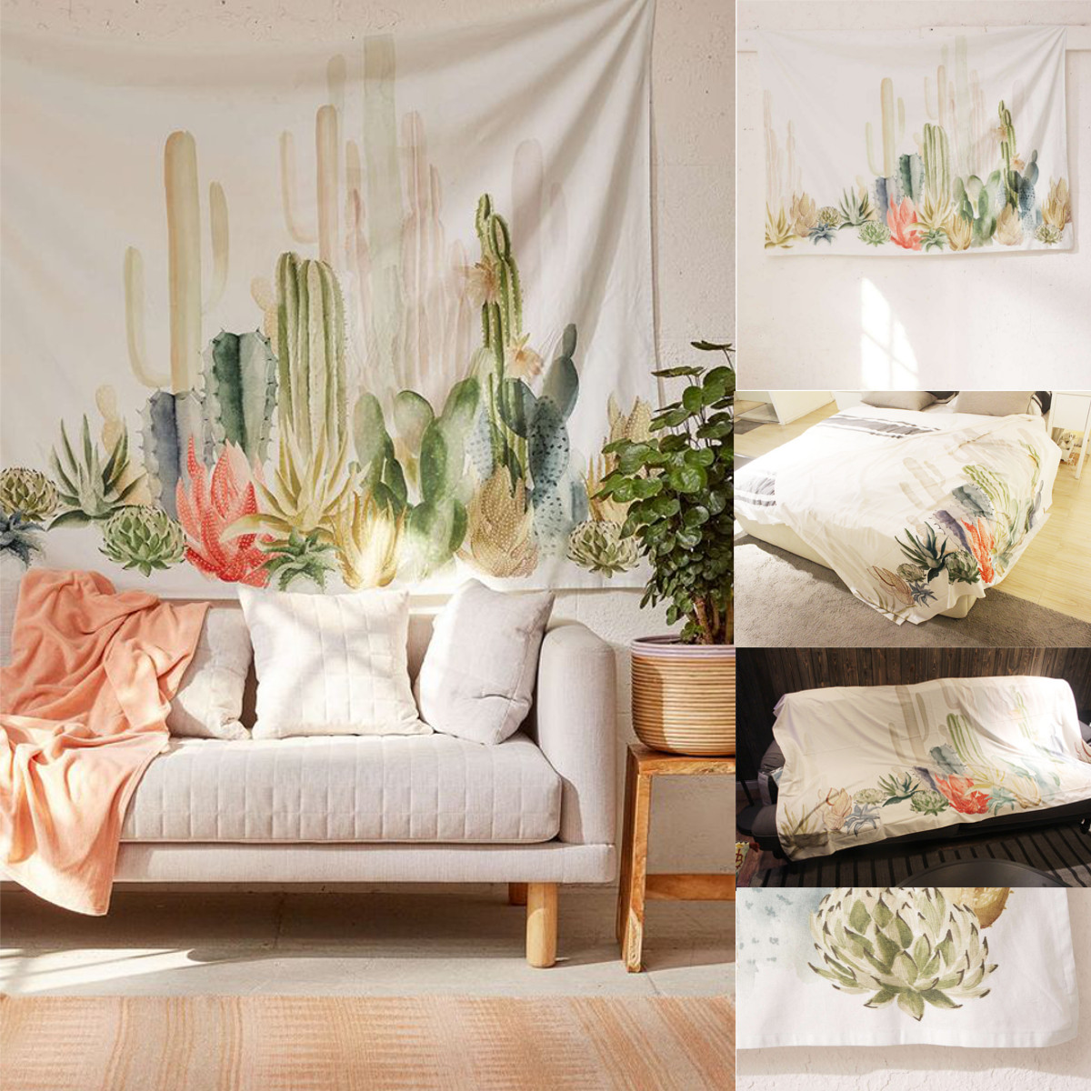 Cactus Leaves Tapestry Wall Hanging Bohemian Bedspread Throw Home Decor Mat by