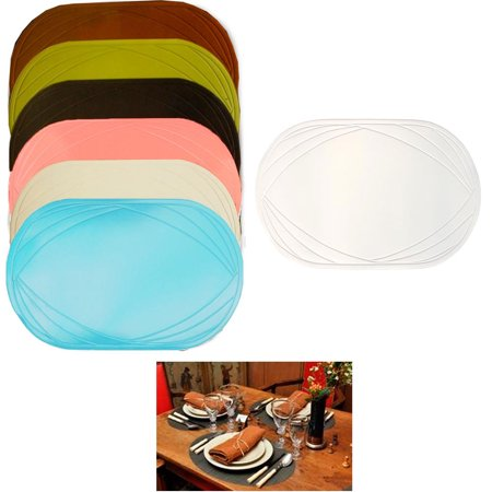2 Piece Vinyl Placemat Kitchen Home Decor Table Protection Oval Round Mat New ! ()
