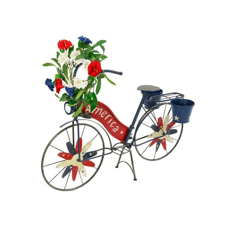 Gerson 37-Inch Long Solar-Powered Metal Patriotic Bicycle Plant Stand with Wind Spinner Spokes ()