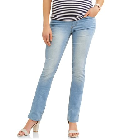 (Maternity Demi-Panel Super Soft Straight Leg Jeans -- Available in Plus Size)