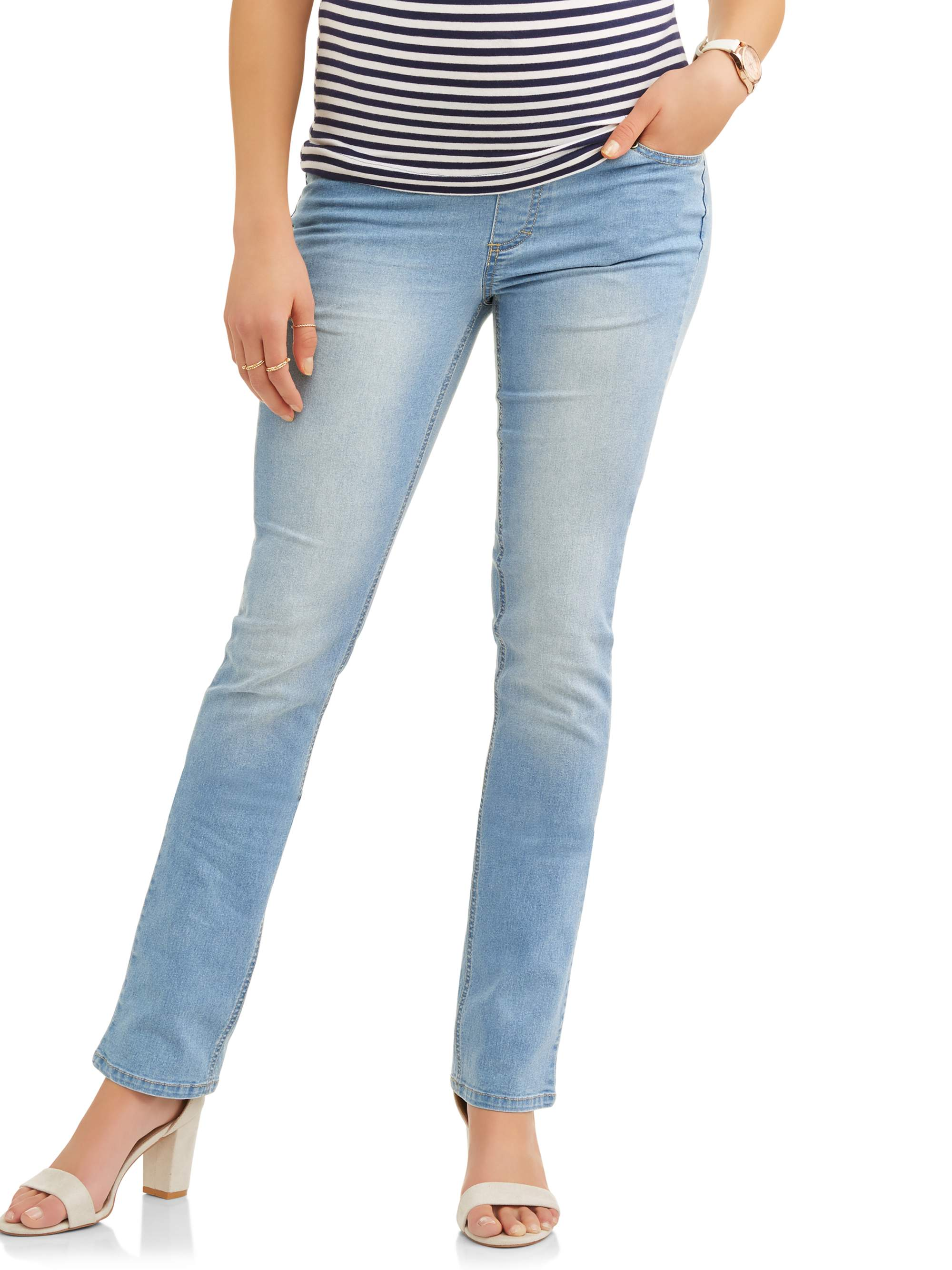 Maternity Demi Panel Super Soft Straight Leg Jeans - Available in Plus Sizes