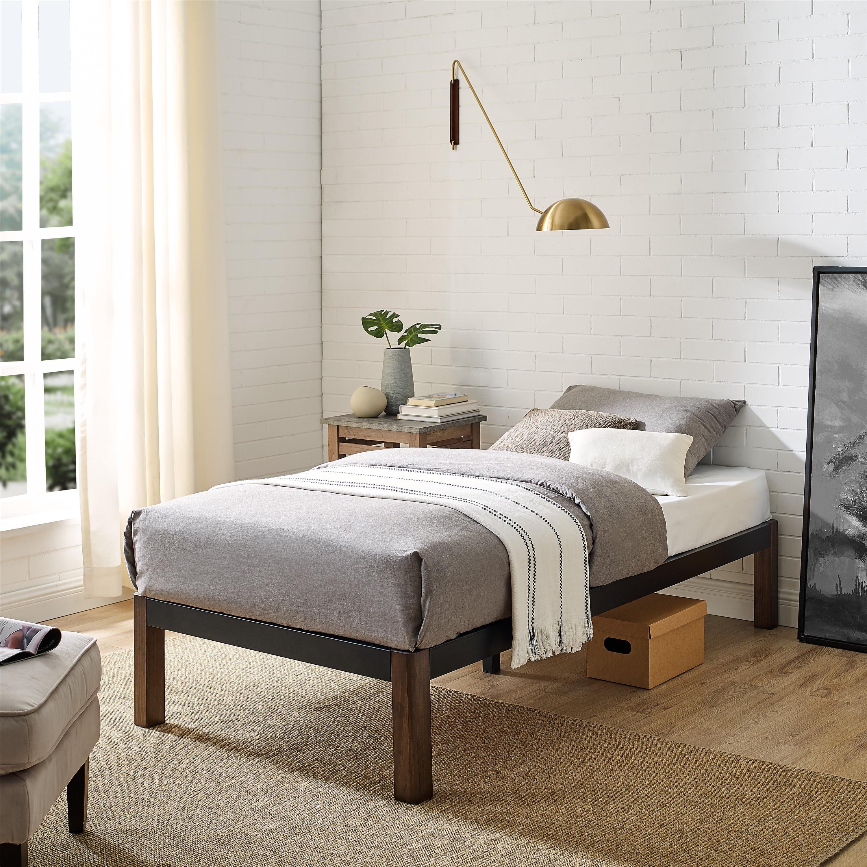 Mainstays Metal Bed Frame With Wood Legs Black Multiple Sizes Walmart Com Walmart Com