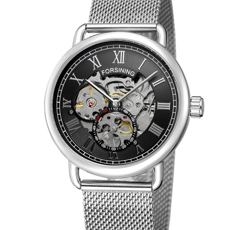 FORSINING 276 Business Men Mechanical Watch Fashion Casual Mesh Stainless Steel Strap 3ATM Waterproof Self-Winding Male (Mechanical White Gold Pocket Watch)