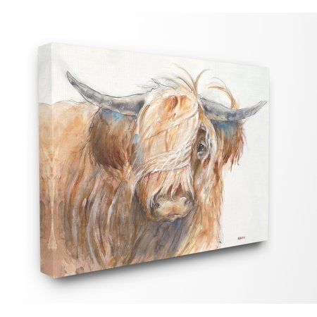 The Stupell Home Decor Collection Brown Horned Bull with Wind Swept Long Hair Painting Stretched Canvas Wall Art, 16 x 1.5 x