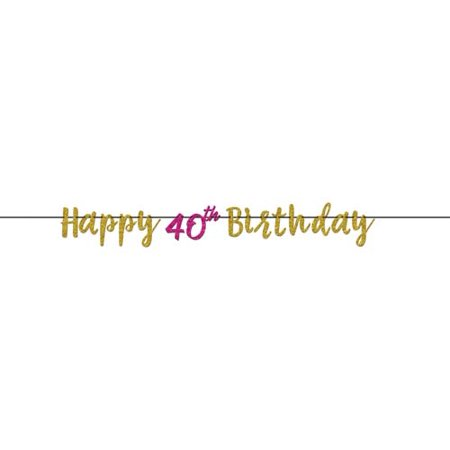 Over the Hill 'Hot Pink and Gold' 40th Birthday Glitter Banner (1ct)](40th Birthday Banners)