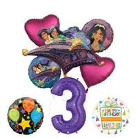 Mayflower Products Aladdin 3rd Birthday Party Supplies Princess Jasmine Balloon Bouquet Decorations - Purple Number 3