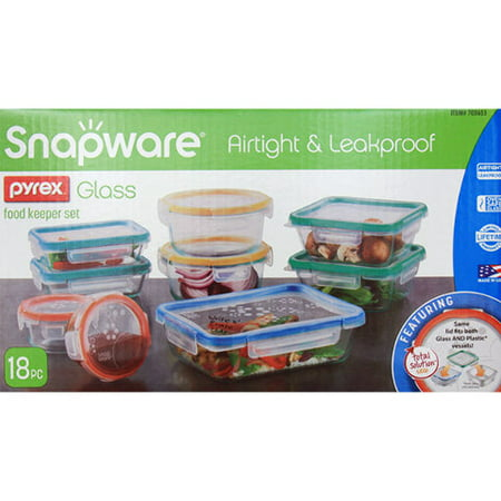 Snapware Pyrex Glass Food Keeper Set, Airtight & Leakproof, 18 Pc