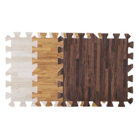 9 PCS Wood Grain Floor Mat Foam Interlocking Flooring Tiles with Borders,Home Office Playroom Basement
