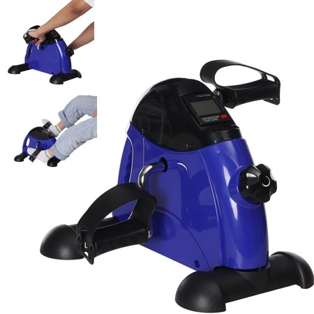Portable Exercise Pedal Bike for Legs and Arms, Mini Exercise Peddler with LCD Display, Purple(Battery not Included)